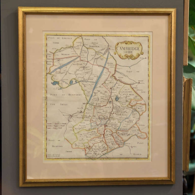 A handsome 18th century English map of Cambridgeshire, mounted and framed under glass.  Printed in 1722 - From an edition of Camden's Britannia (Map by Robert Morden)  Great as a gift for a Cambridge University graduate!