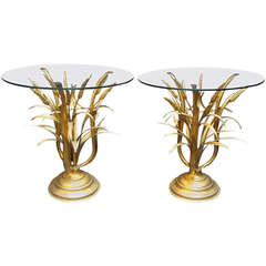 Pair of Italian Wheat Sheaf Low or Side Tables