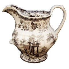 Brown and White Transfer-Ware Ironstone Pitcher by Mason's