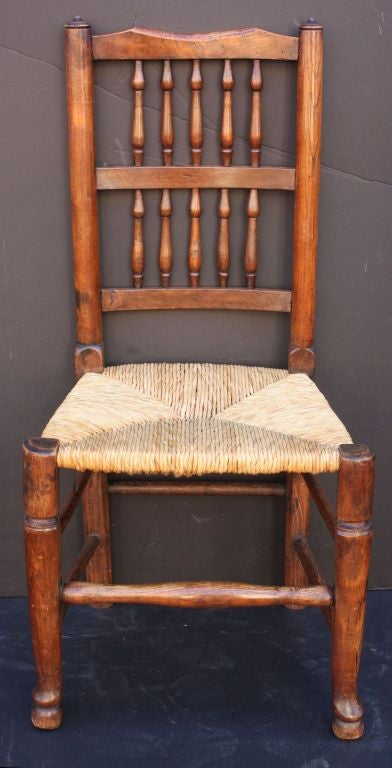 English Harlequin Spindle Back Chairs With Rush Seats At