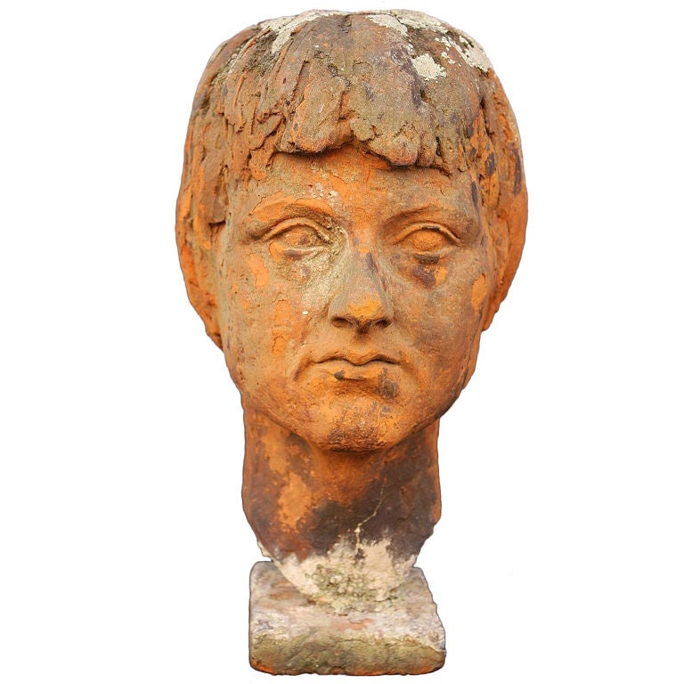 English Bust of  a Woman in Terra Cotta