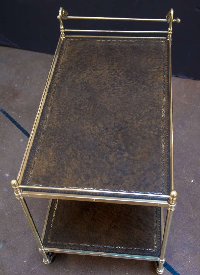 Swan S Neck Drinks Cart Or Trolley Of Brass And Leather At