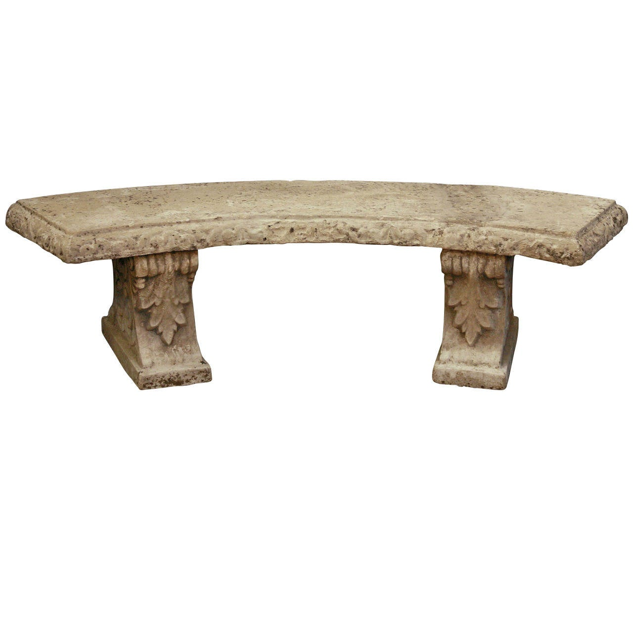 Large english curved garden stone bench at 1stdibs Stone garden bench