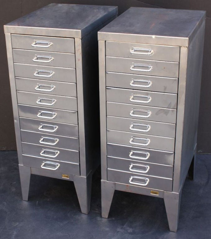 Mid-Century Industrial Filing Cabinets of Brushed Steel by Stor image 2