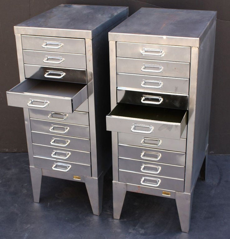 Mid-Century Industrial Filing Cabinets of Brushed Steel by Stor image 3