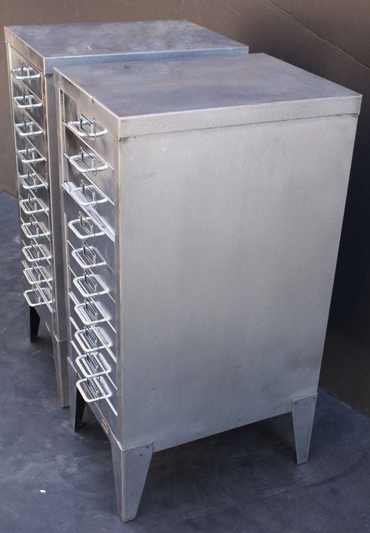 Mid-Century Industrial Filing Cabinets of Brushed Steel by Stor image 4