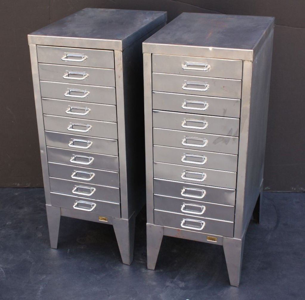 Mid-Century Industrial Filing Cabinets of Brushed Steel by Stor image 6