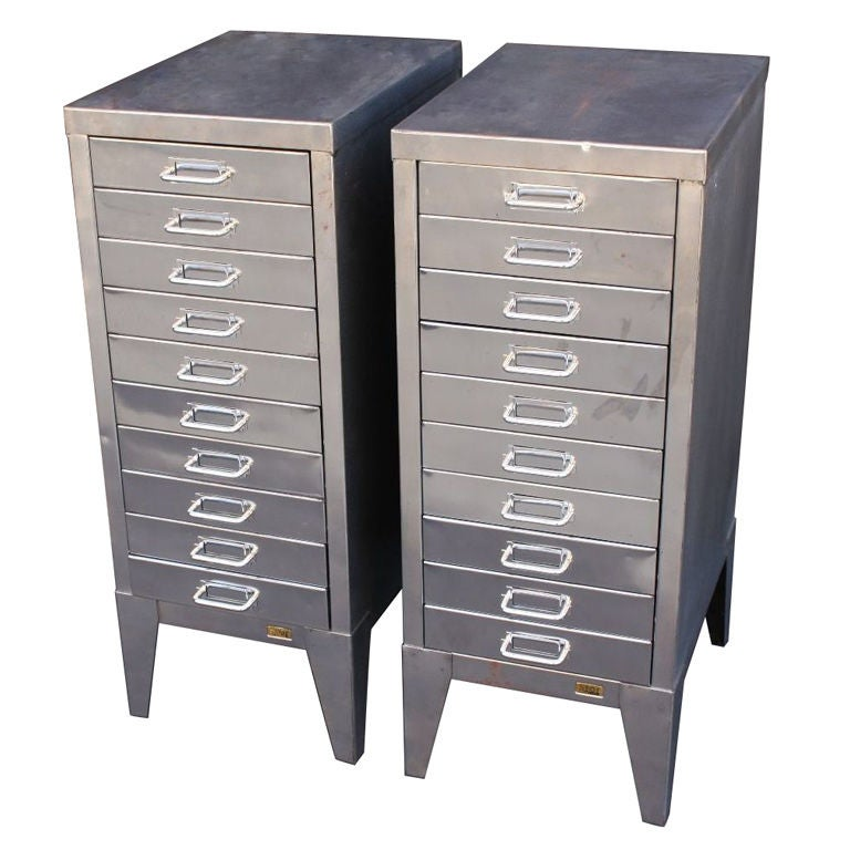 Midcentury Industrial Filing Cabinets Of Brushed Steel By Stor For Sale