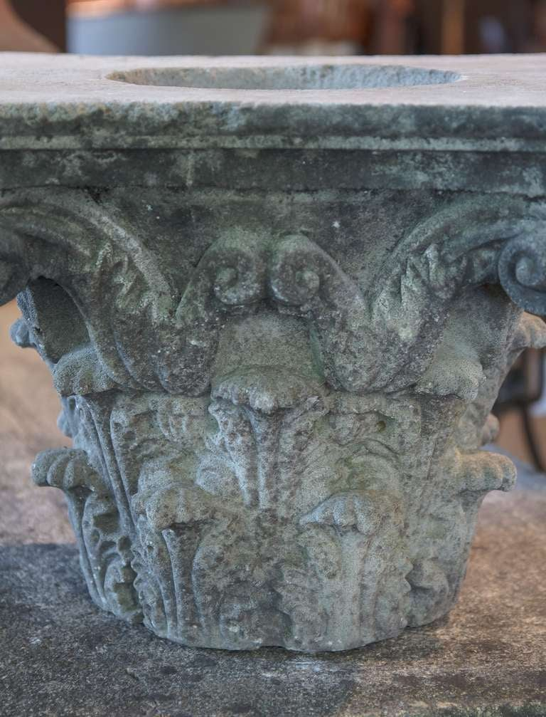 Pair of large english garden stone capitals for sale at for Large garden rocks for sale