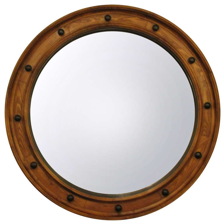 "Large English Convex Mirror (58 3/4"" Diameter) For Sale"