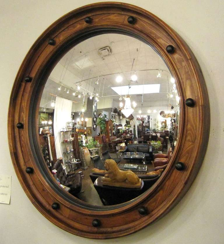 Ebonized Large English Convex Mirror (58 3/4