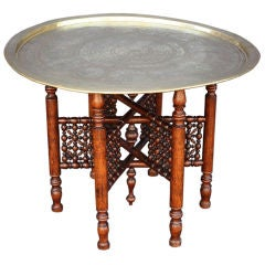Occasional Table with Brass Tray Top and Turned Wood Base
