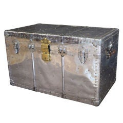 English Aluminum-Clad Trunk with Brass Accents