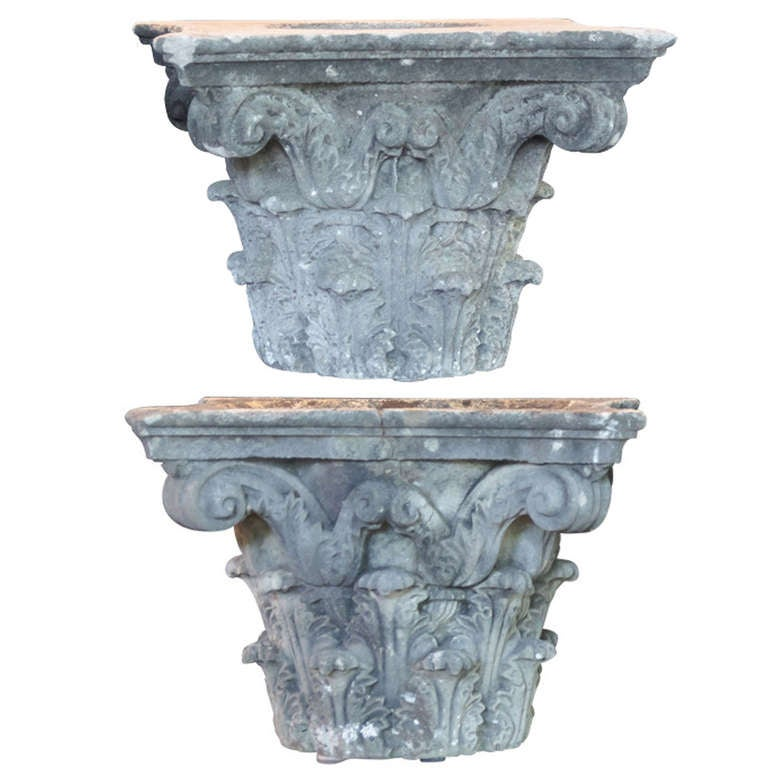 Pair of Large English Garden Stone Capitals