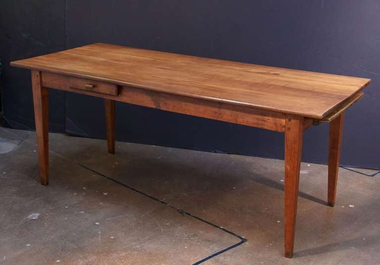 French Farm Table Of Cherry With A Drawer And Bread Board 3