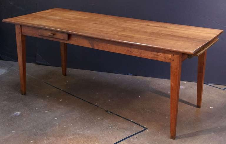 French Farm Table Of Cherry With A Drawer And Bread Board 2