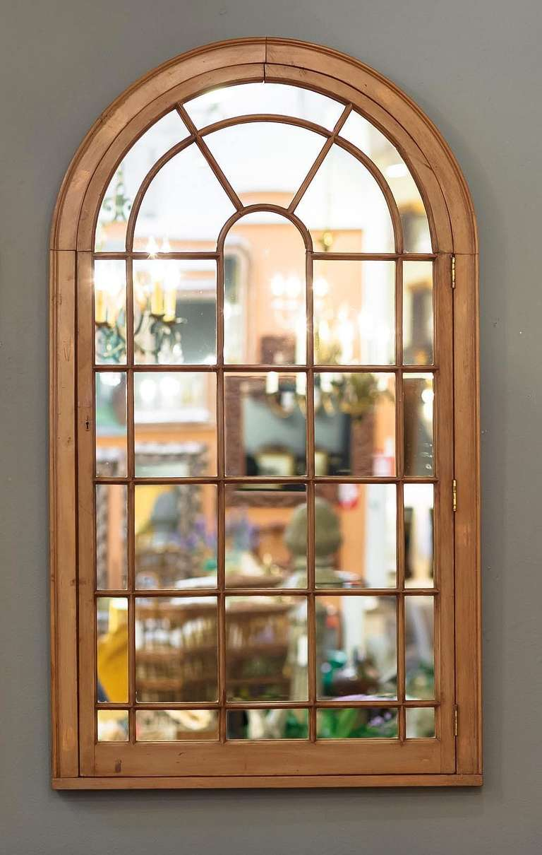 Pair of large georgian arched window pane mirrors priced for Window pane mirror