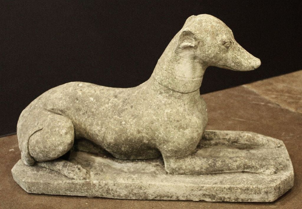 Bon An English Garden Statue Of Composition Stone Featuring A Reclining  Greyhound Or Whippet, Collared,