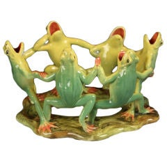 Majolica Grouping of Dancing Frogs by Delphin Massier