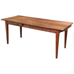 French Farm Table of Cherry with a Drawer and Bread Board