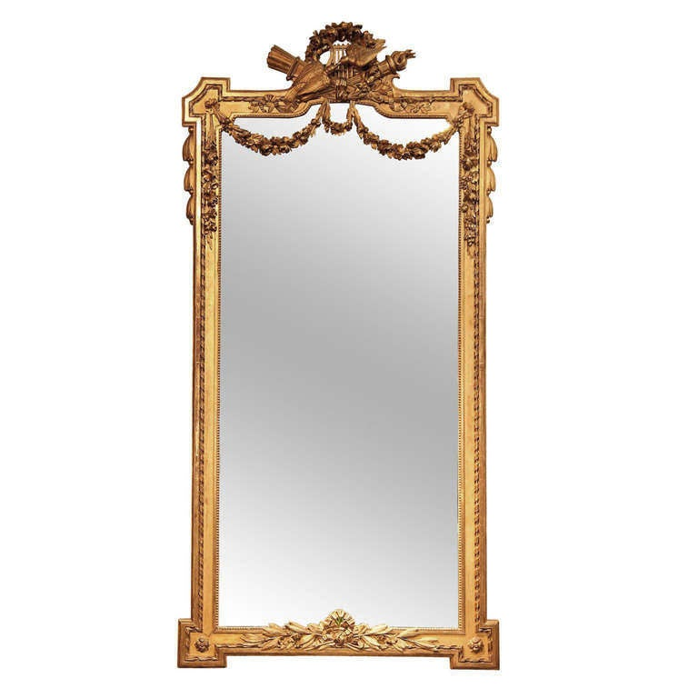 Large French Hall Mirror with Carved Giltwood Frame (H 91 x W 45) For Sale