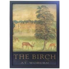 "English Pub Sign, ""The Birch at Woburn"""