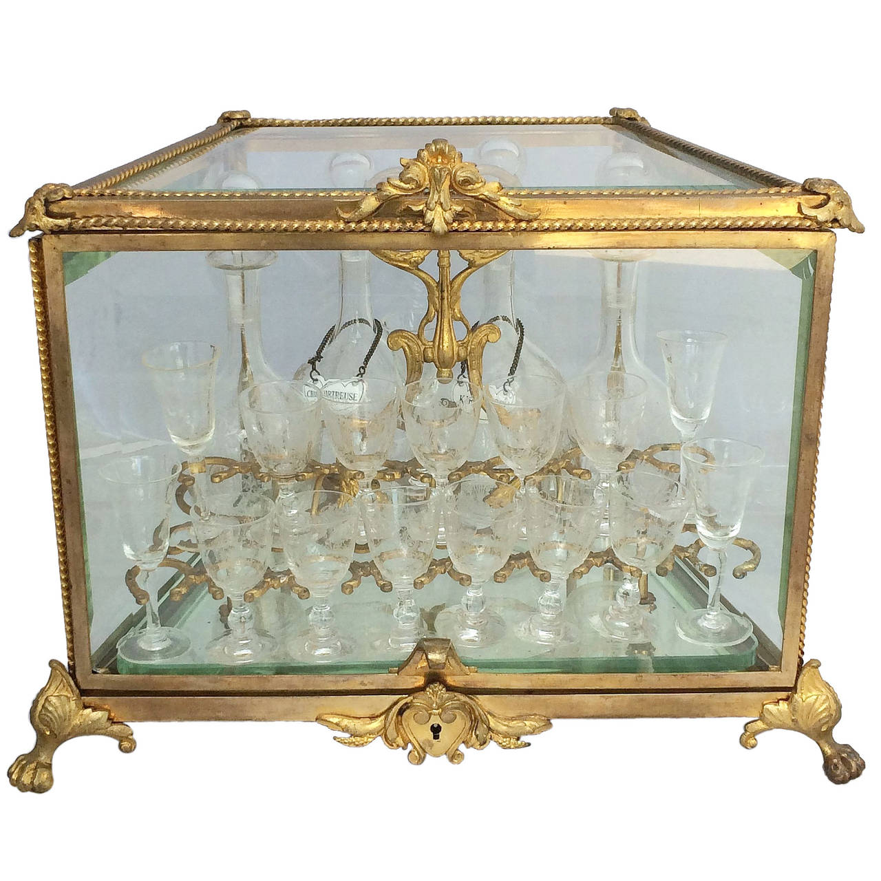 French Tantalus Drinks Set of Gilt Bronze For Sale
