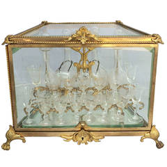 French Tantalus Drinks Set of Gilt Bronze