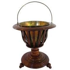 Dutch Tea Bucket or Warmer or Wine Holder of Turned Mahogany