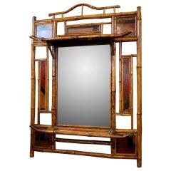 English Bamboo Overmantle Mirror