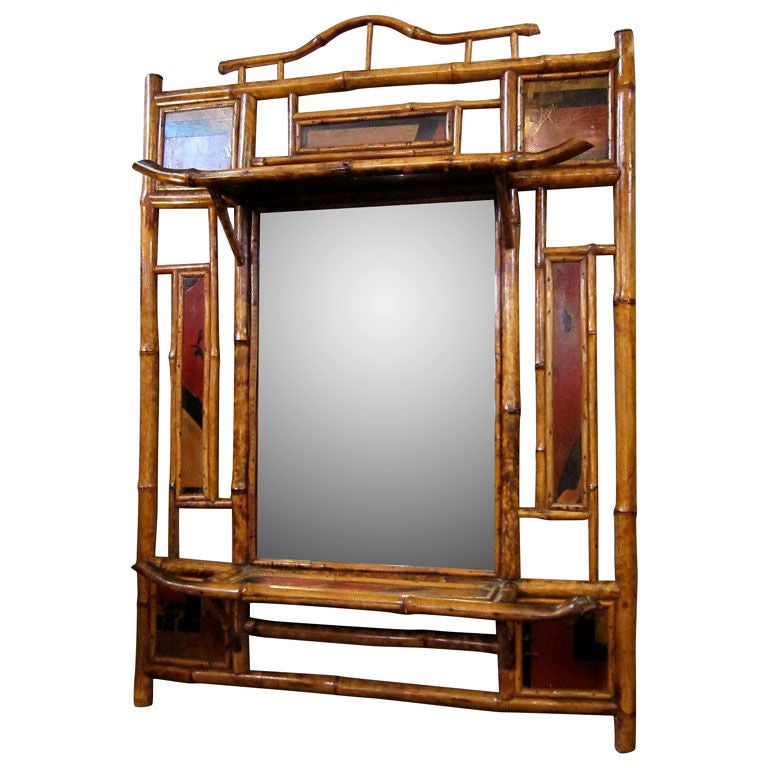 English bamboo over mantle mirror at 1stdibs for Mantle mirror