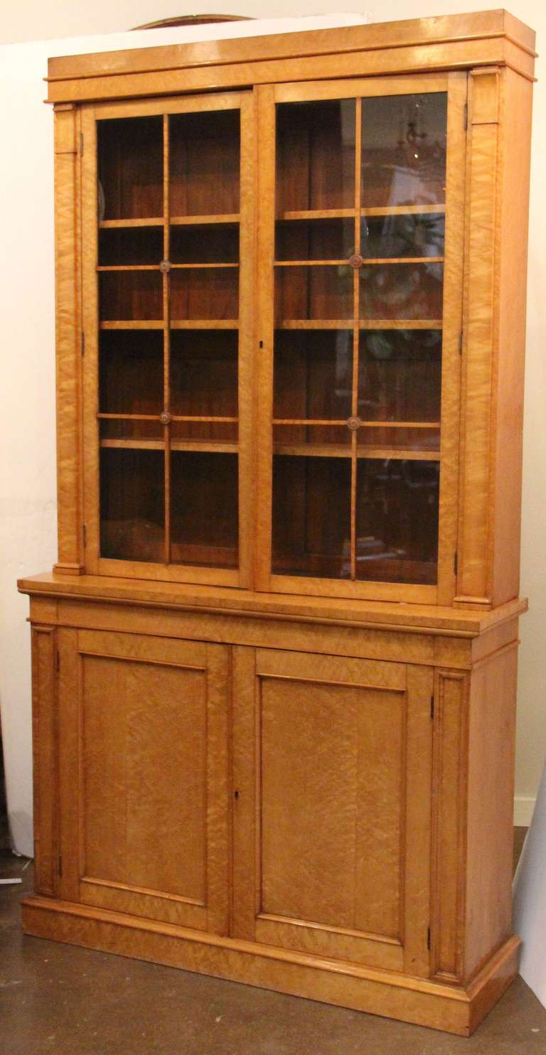 English Library Bookcase of Curly Maple in Biedermeier ...