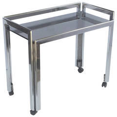 English Drinks Cart or Console of Chromed Steel and Smoked Glass