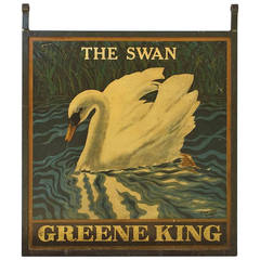 English Pub Sign, The Swan, Greene King