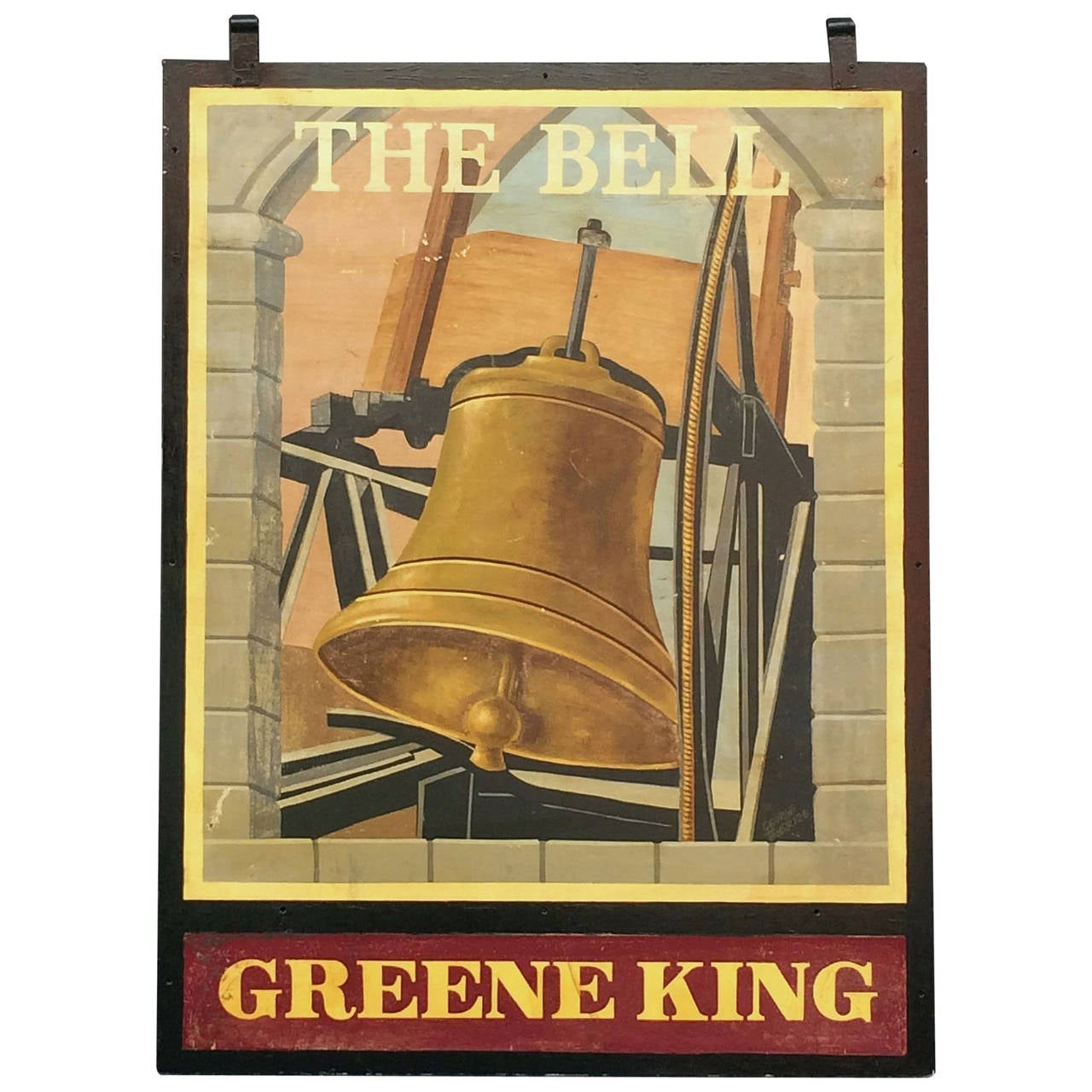 "English Pub Sign, ""The Bell, Greene King"""