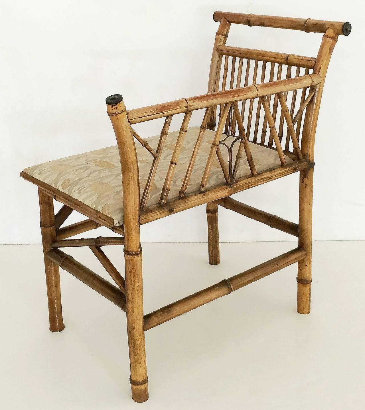 English Bamboo Upholstered Bench Seat 4