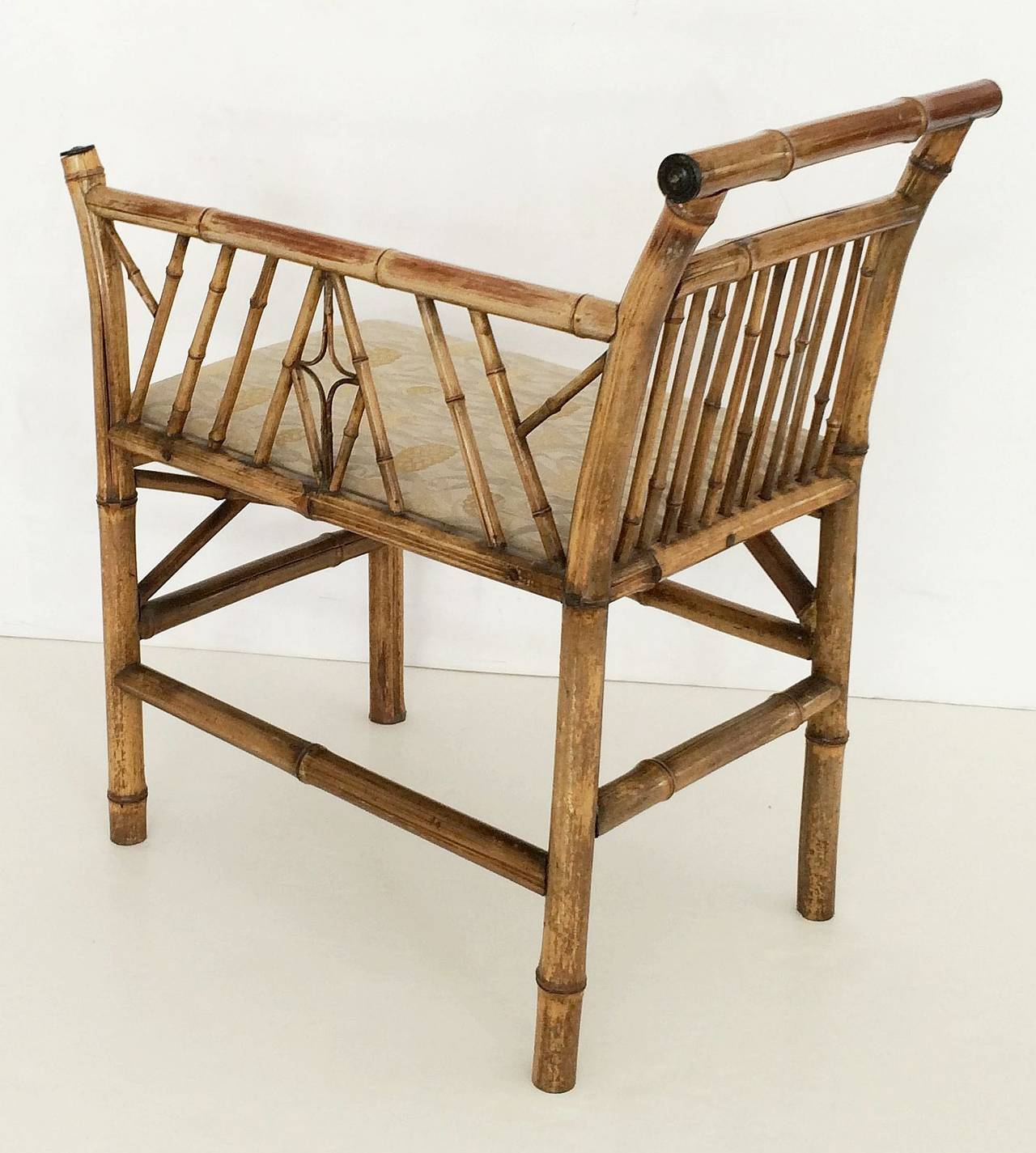 19th Century English Bamboo Upholstered Bench Seat For Sale