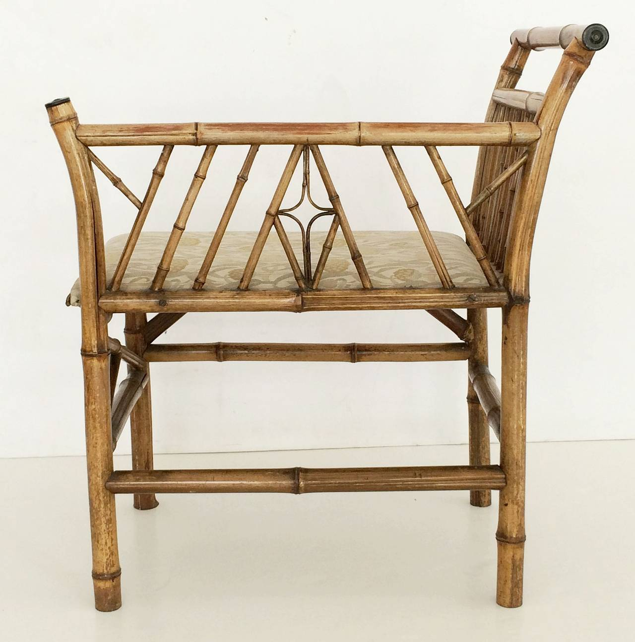 English Bamboo Upholstered Bench Seat For Sale 1
