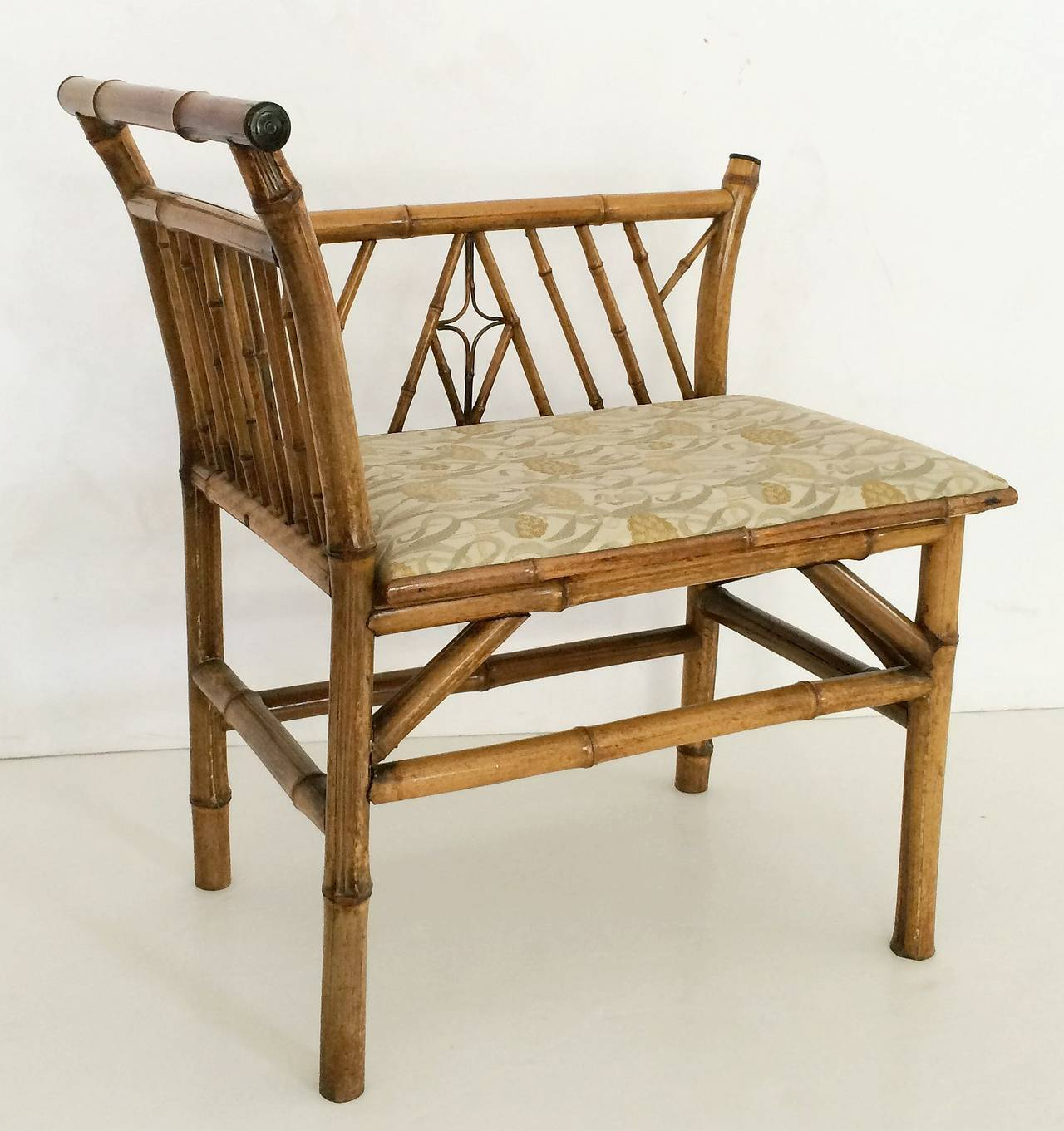 Aesthetic Movement English Bamboo Upholstered Bench Seat For Sale