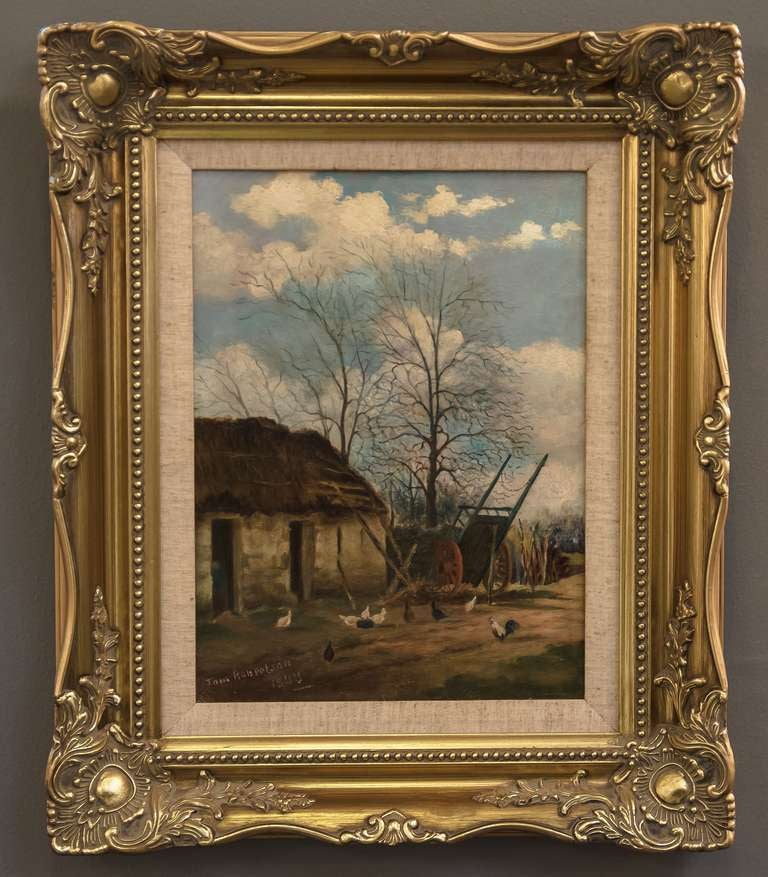 A beautiful English farm yard scene oil painting on canvas, in gilt and linen frame. Signed on front: T. Robertson 1909 Signed on back: Tom Robertson  Artists canvas prepared by Barnard & Son, London.