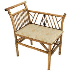 English Bamboo Upholstered Bench Seat