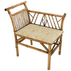 English Bamboo Upholstered Bench Seat