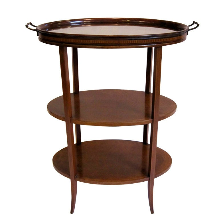 Edwardian Tiered Table of Inlaid Mahogany with Removable Tray