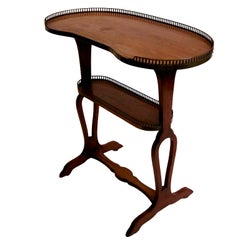 French Tiered Tray Table of Mahogany with Brass Gallery