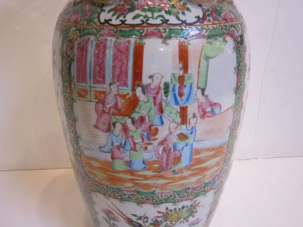 19th c famille rose chinese canton export large vase at 1stdibs a 19th c hand painted chinese export pottery vase decorated in the typical reviewsmspy