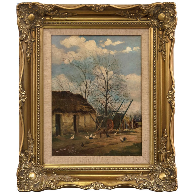Framed English Oil Painting by Tom Robertson For Sale