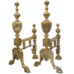 Pair of English Brass Andirons or Fire Dogs
