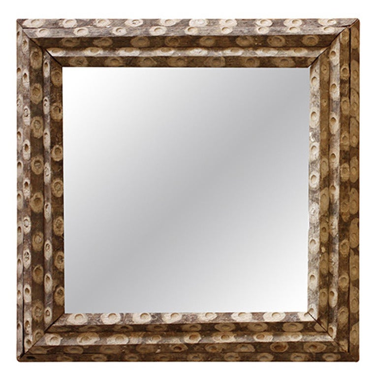 Large square oyster stick mirror 32 x 32 at 1stdibs for Large square mirror