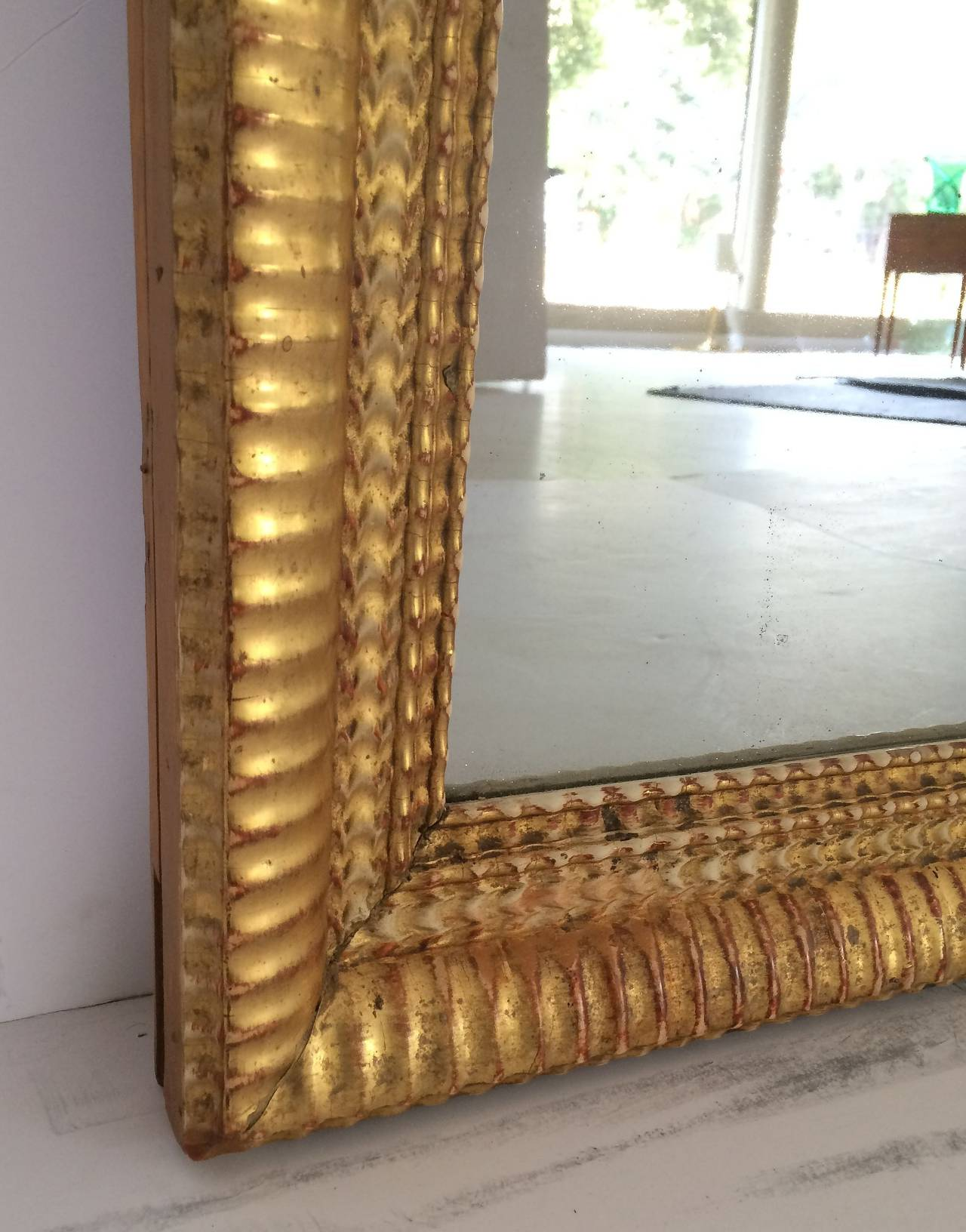 French Gilt Rectangular Wall Mirror (38 x 32) For Sale 5