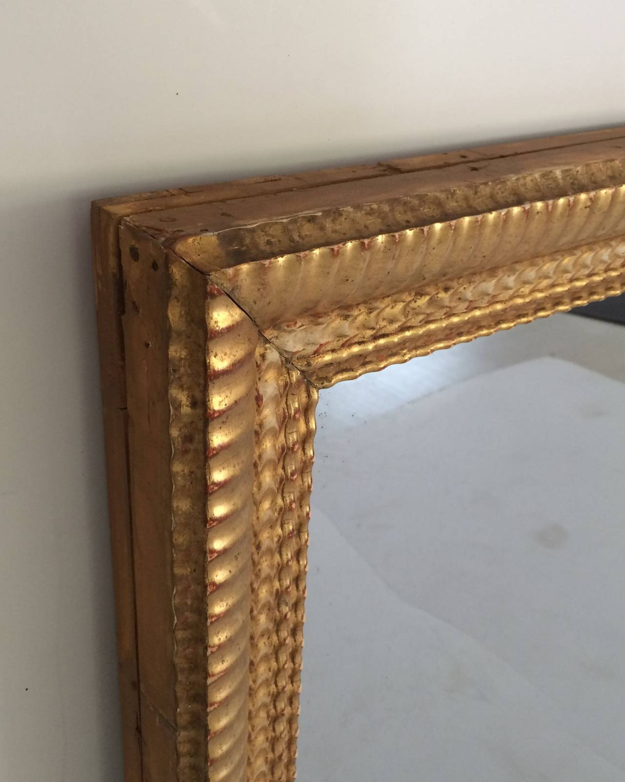 19th Century French Gilt Rectangular Wall Mirror (38 x 32) For Sale